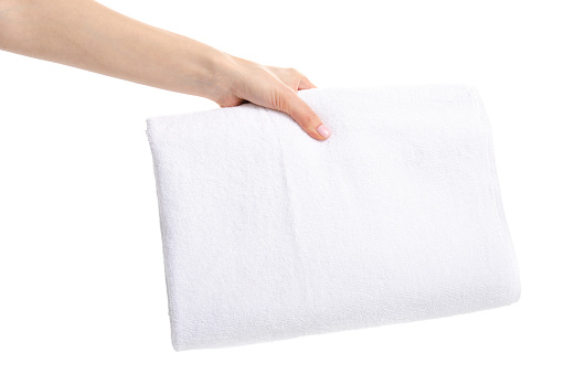 1131900491 istock photo White towel soft in hand 1087253842