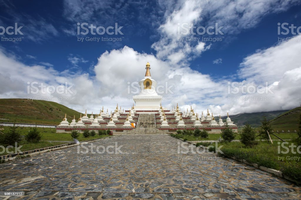 White tower  in Daocheng, Tibet stock photo