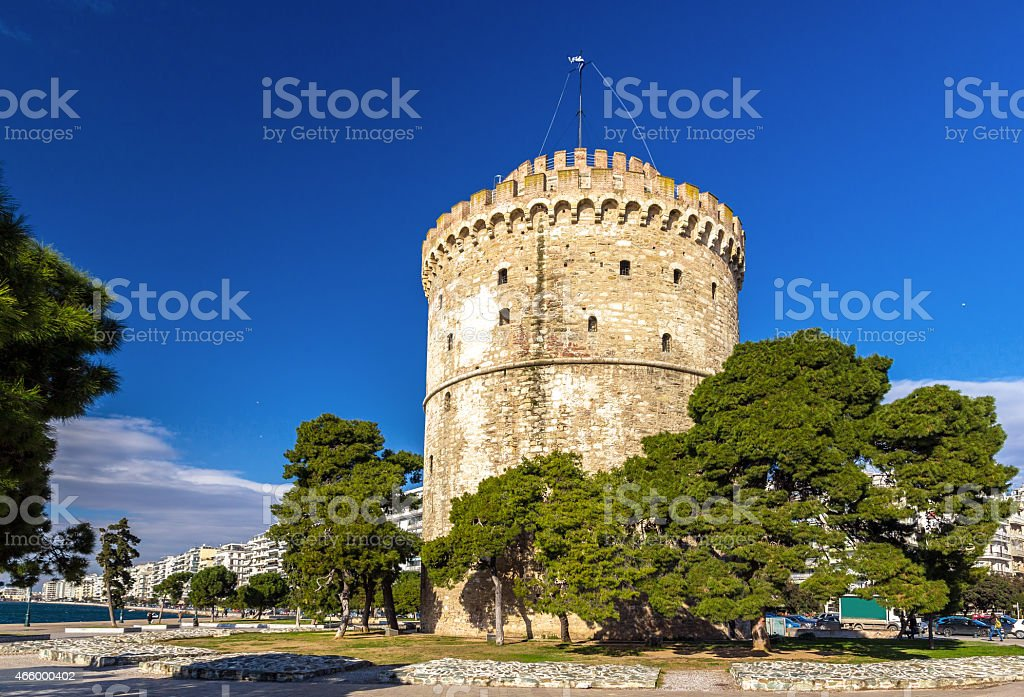 White Tower of Thessaloniki in Greece stock photo