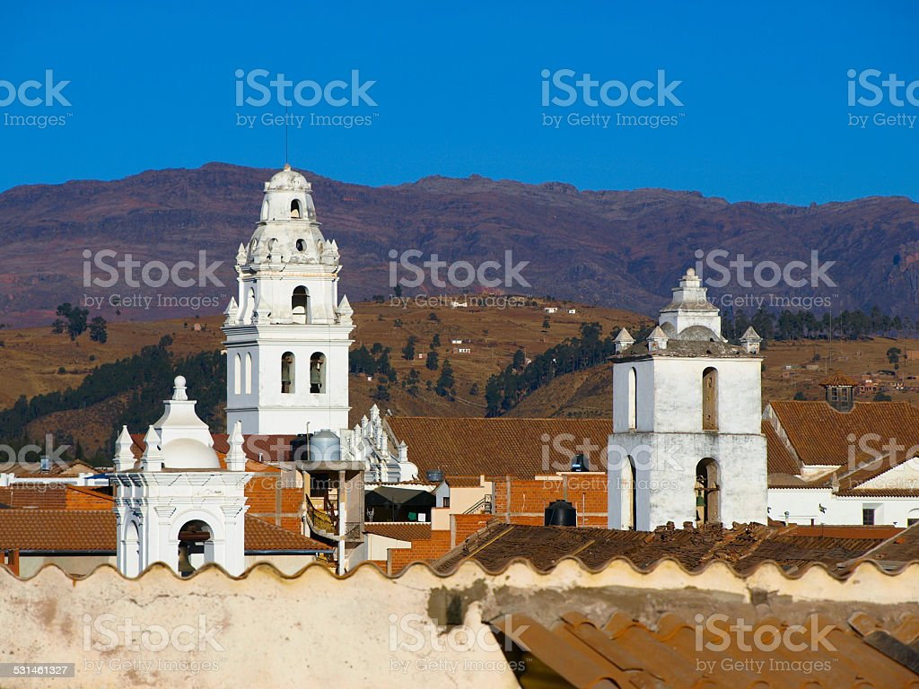 White towers of Sucre stock photo