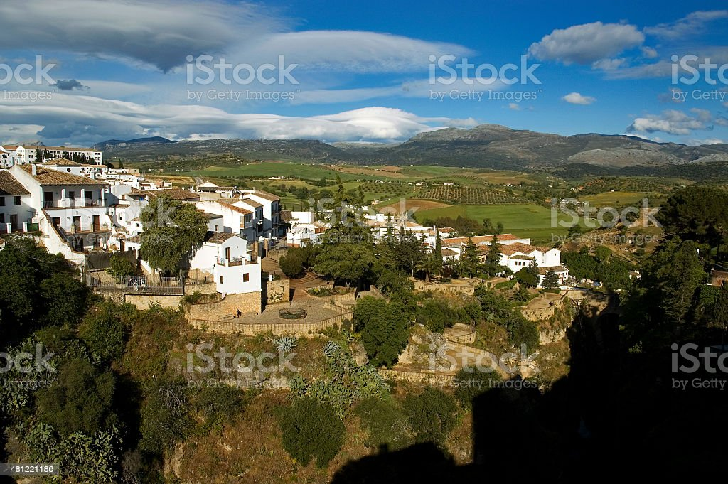 White town of Ronda on cliffs above gorge, Andalusia, Spain stock photo