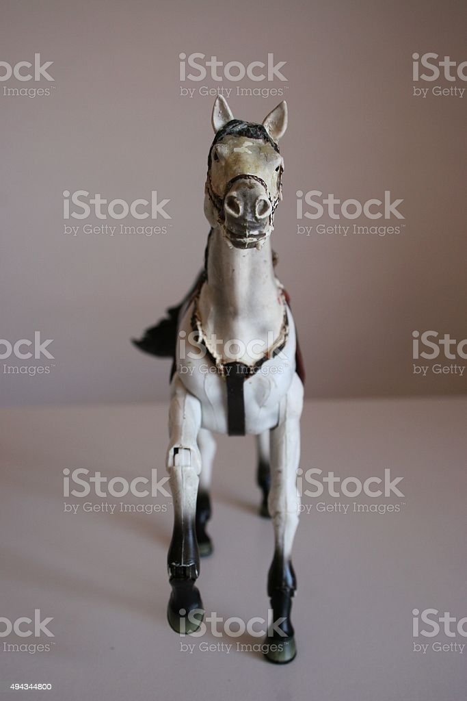 White toy horse stock photo
