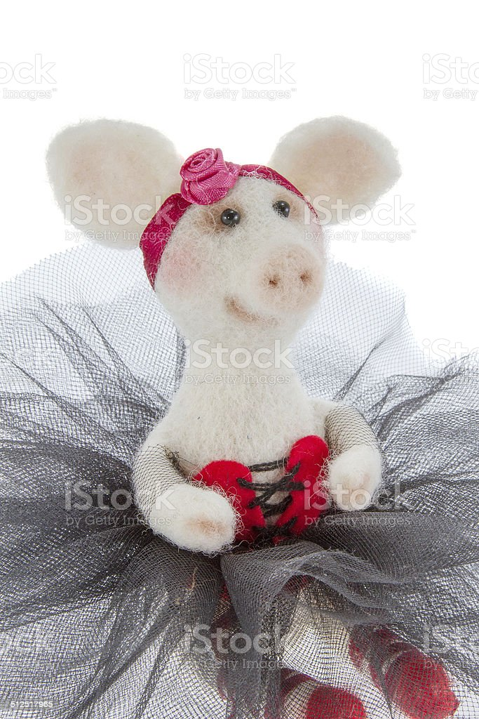 White toy pig in a tutu stock photo