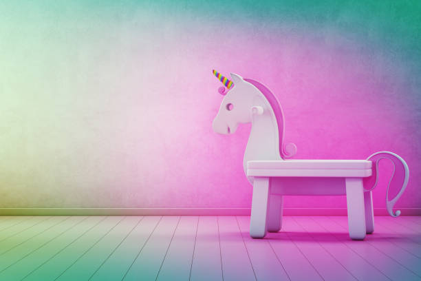 weißer spielzeug einhorn auf holzboden kinderzimmer mit leeren regenbogen betonwand hintergrund in startup unternehmen erfolg konzept - home interior 3d illustration - lila mädchen zimmer stock-fotos und bilder