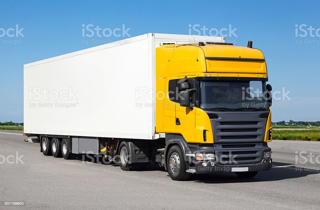White track on road mock up stock photo