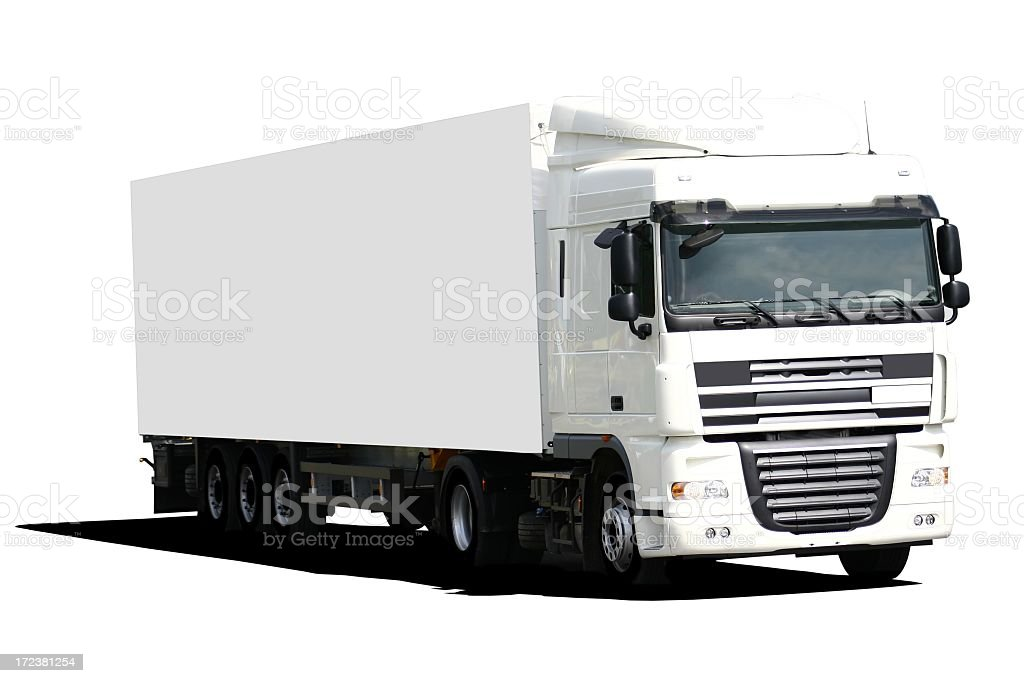 A white tractor trailer truck on a white background royalty-free stock photo