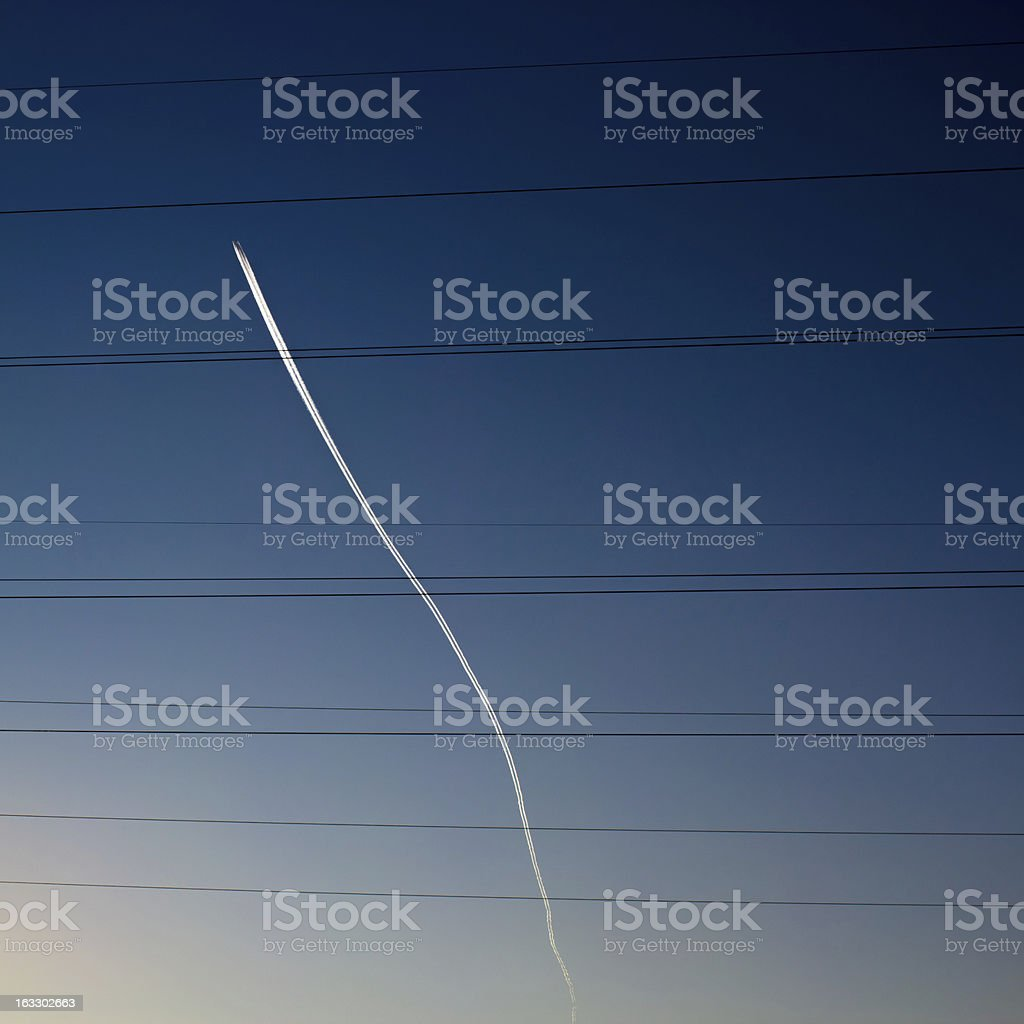 White trail in the sky royalty-free stock photo