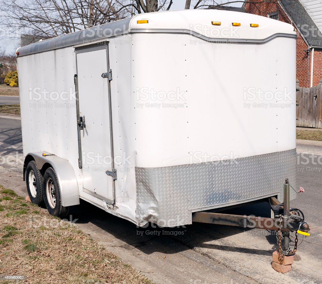 White Trailer stock photo