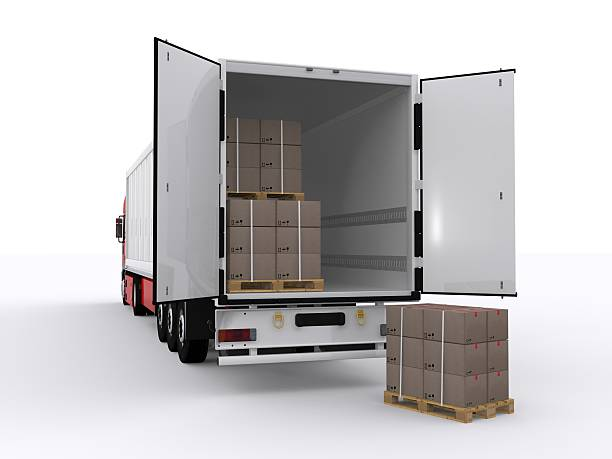 white trailer - lorries unloading stock photos and pictures
