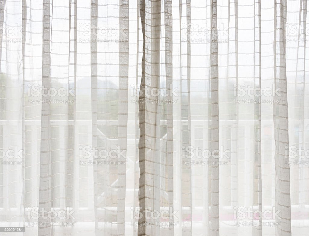 White translucent curtain stock photo