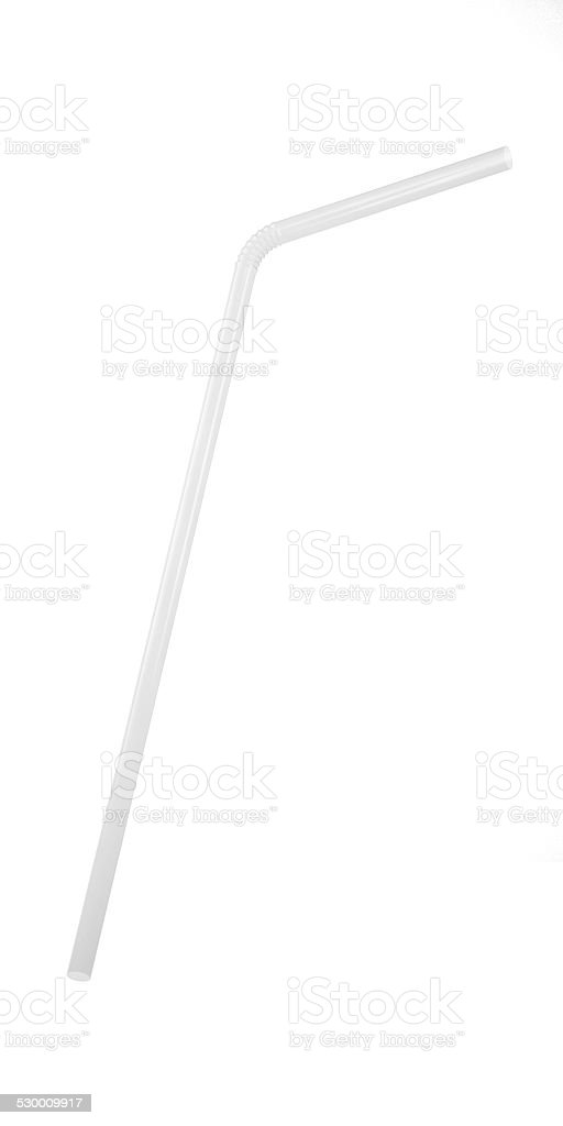 3D White Transparent Drinking Straw Isolated on White stock photo