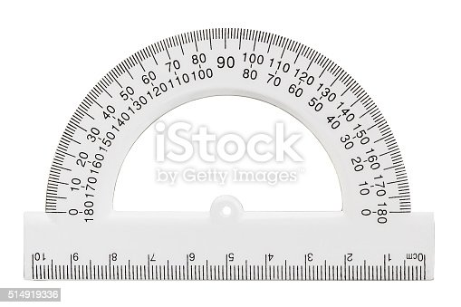 istock White transparent protractor, isolated on white, with clipping path 514919336