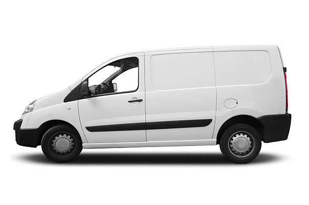 white transporter für branding - van stock-fotos und bilder