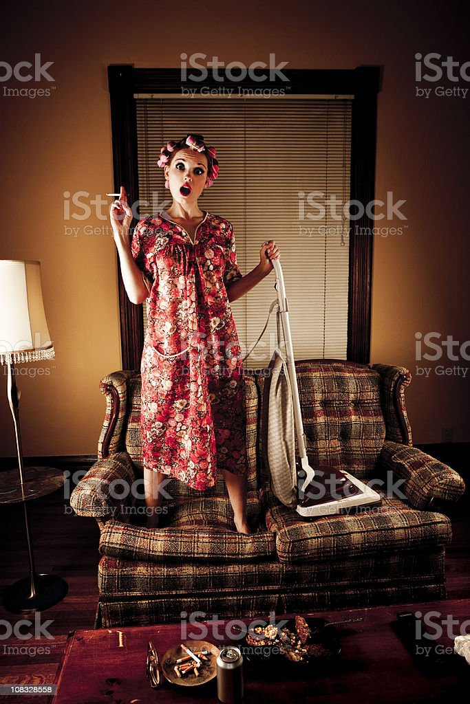 White Trash Series: Cleaning the Couch royalty-free stock photo