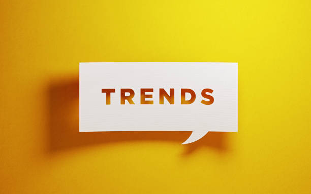 White Trends Bubble On Yellow Background stock photo