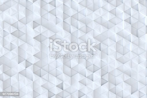 927104724 istock photo White triangle tiles seamless pattern, 3d rendering background. 927096204