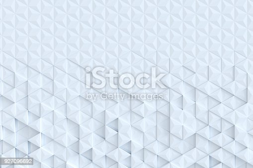 927104724 istock photo White triangle tiles seamless pattern, 3d rendering background. 927096692