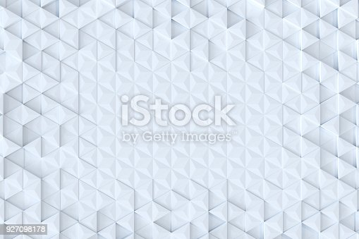 927104724 istock photo White triangle tiles seamless pattern, 3d rendering background. 927098178