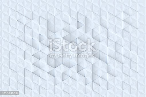 927104724 istock photo White triangle tiles seamless pattern, 3d rendering background. 927098792