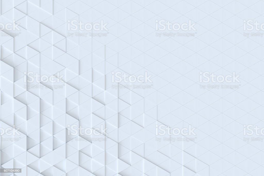 White triangle tiles seamless pattern, 3d rendering background. royalty-free stock photo