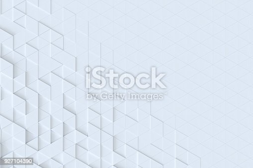 istock White triangle tiles seamless pattern, 3d rendering background. 927104390