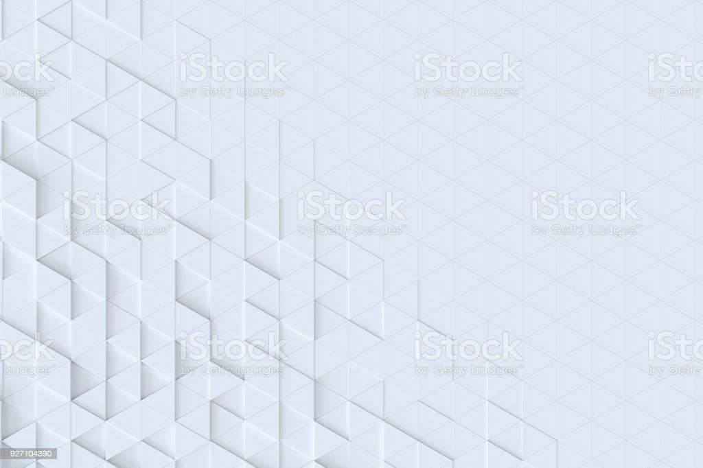 Triângulo branco telhas sem costura padrão, fundo de renderização 3d. - foto de acervo