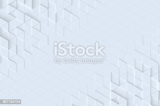 istock White triangle tiles seamless pattern, 3d rendering background. 927104724