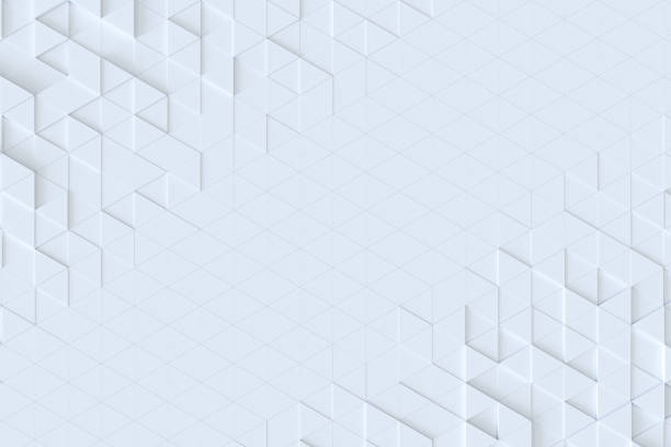 White triangle tiles seamless pattern, 3d rendering background. - foto stock