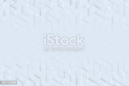 927104724 istock photo White triangle tiles seamless pattern, 3d rendering background. 927104938