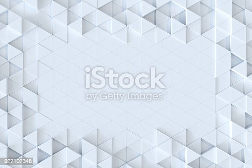 927104724 istock photo White triangle tiles seamless pattern, 3d rendering background. 927107348