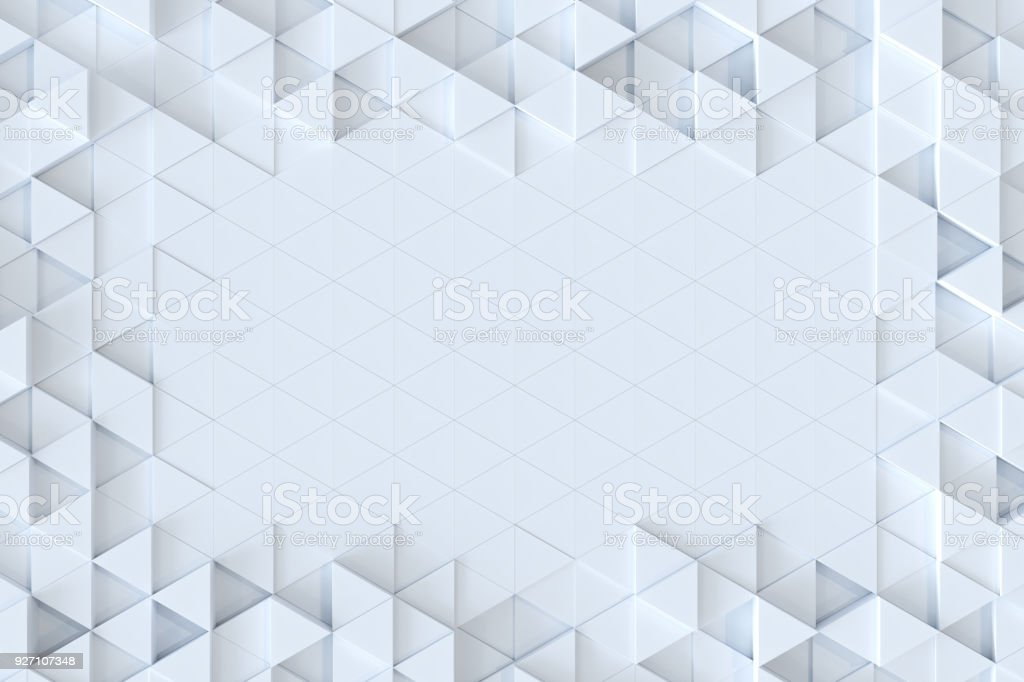 White triangle tiles seamless pattern, 3d rendering background. stock photo