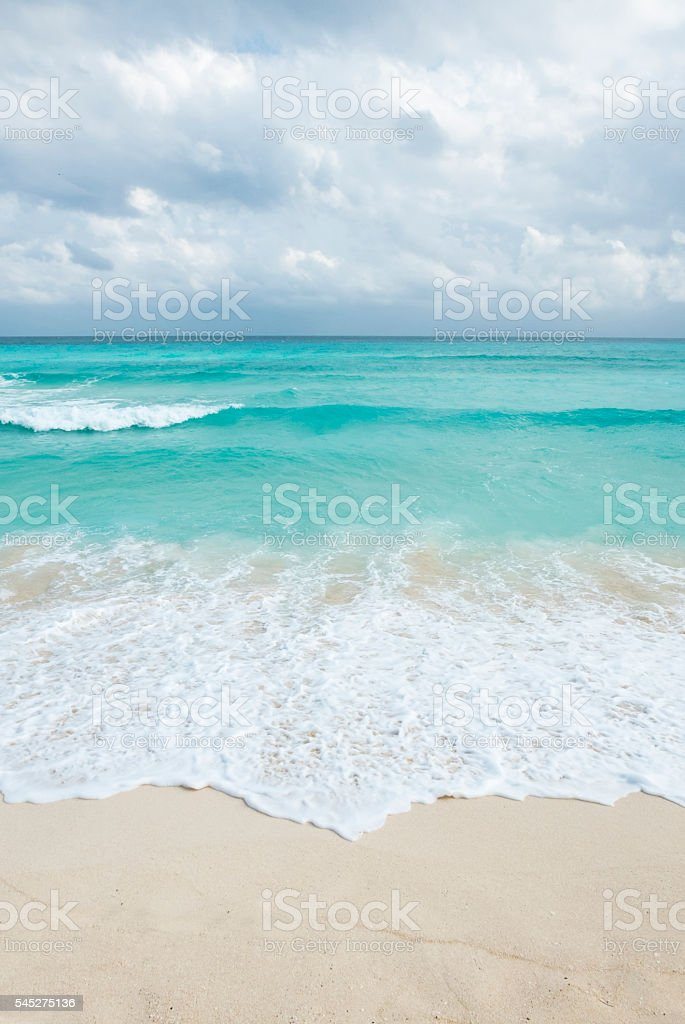 white tropical beach in cancun, yucatan mexico stock photo