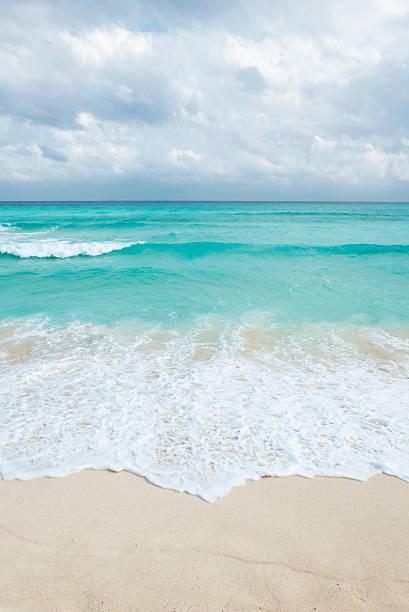 white tropical beach in cancun, yucatan mexico stock photo