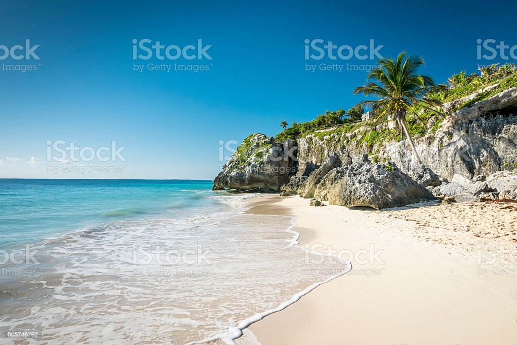 white tropical beach in tulum yucatan mexico stock photo