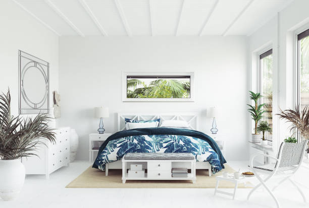 white tropical bedroom interior, coastal style - coastline stock pictures, royalty-free photos & images
