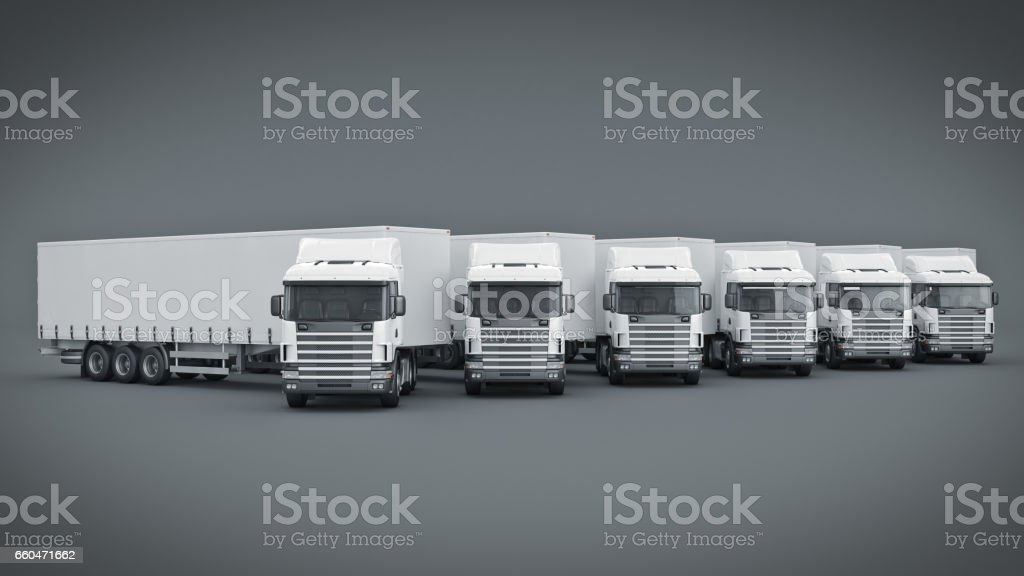 White Truck 3d Rendering Stock Photo - Download Image Now
