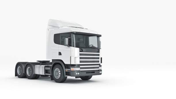 weißen lkw. 3d-rendering - aufgemotzte trucks stock-fotos und bilder