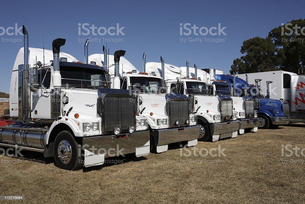 White Truck Fleet royalty-free stock photo