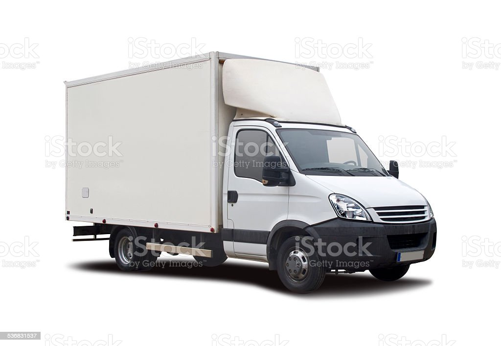 White truck isolated stock photo