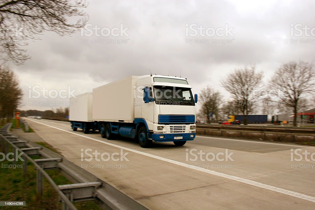 White truck on a german highway royalty-free stock photo