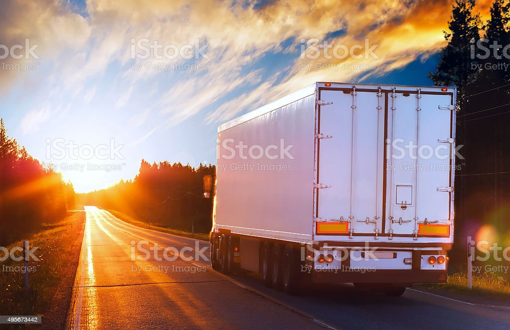 White truck on a road in the polar night stock photo