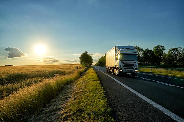 white truck on the road along the field at sunset. - conductor de autobús fotografías e imágenes de stock