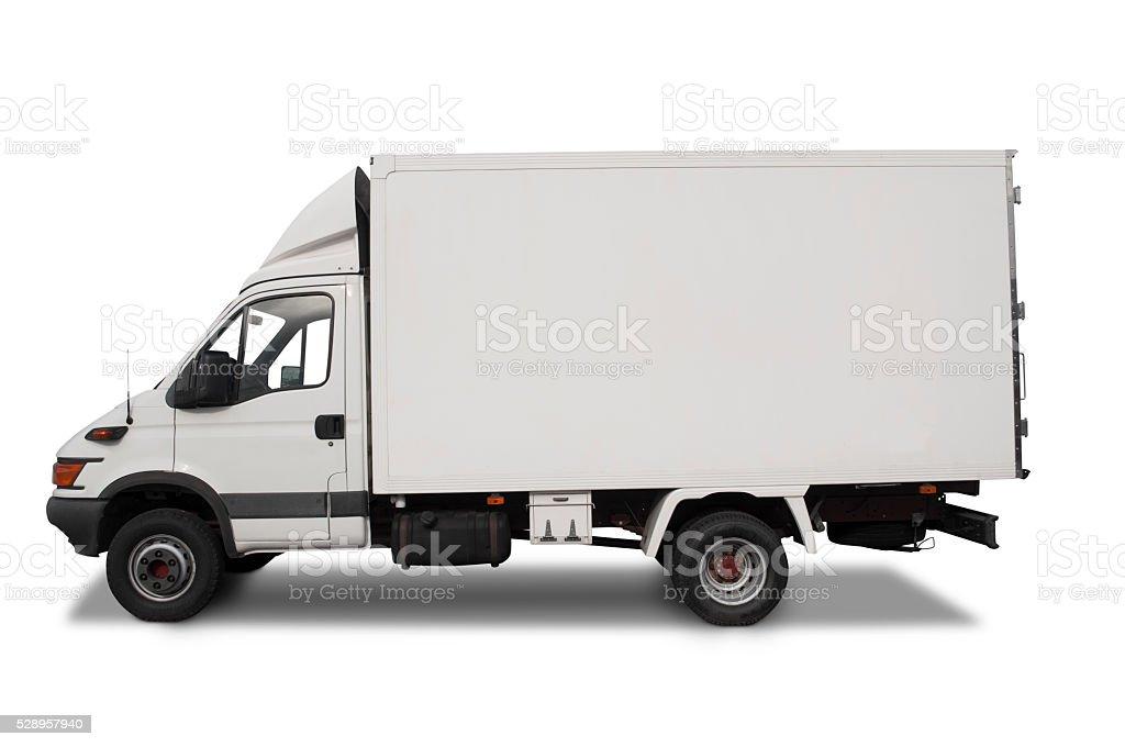 White truck on white background. stock photo