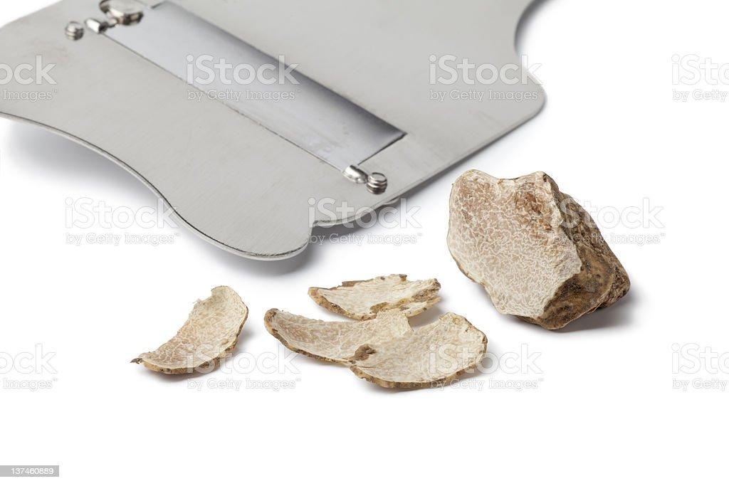 White truffle and slicer stok fotoğrafı