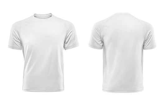white t-shirt, front and back isolated on white background