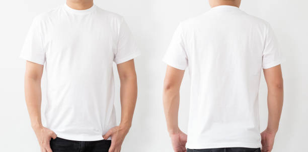 White T-Shirt front and back, Mockup template for design print White T-Shirt front and back, Mockup template for design print white t shirt stock pictures, royalty-free photos & images