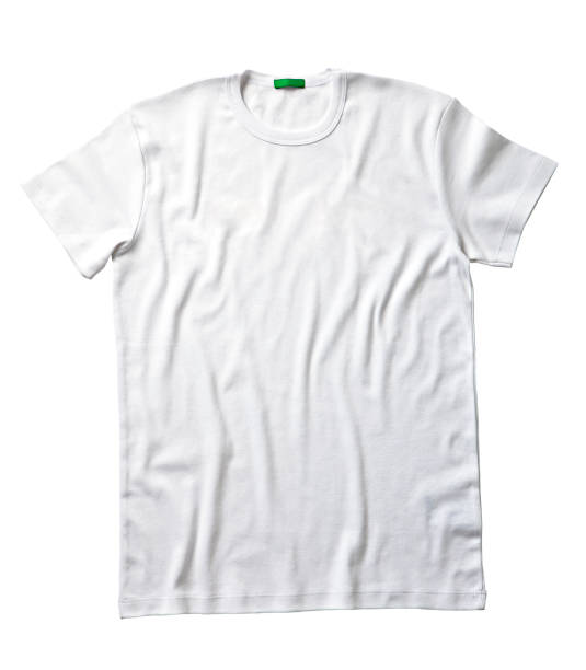 White t-shirt isolated on white background White t-shirt isolated on white background (with clipping path) white t shirt stock pictures, royalty-free photos & images