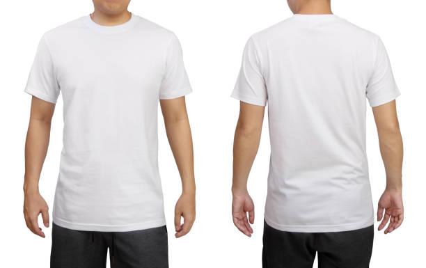 흰색 배경에 고립 된 젊은 남자에 흰색 티셔츠. 전면 및 후면 보기. - 등 뉴스 사진 이미지