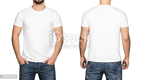 istock White t-shirt on a young man white background, front and back 685885534