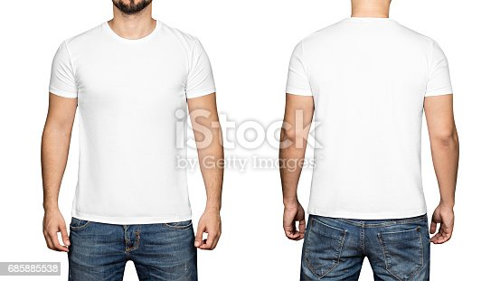 istock White t-shirt on a young man white background, front and back 685885538